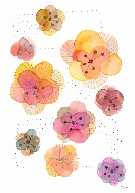 Flower watercolor painting by Thévy Guex http://thevy-guex.blogspot.fr/