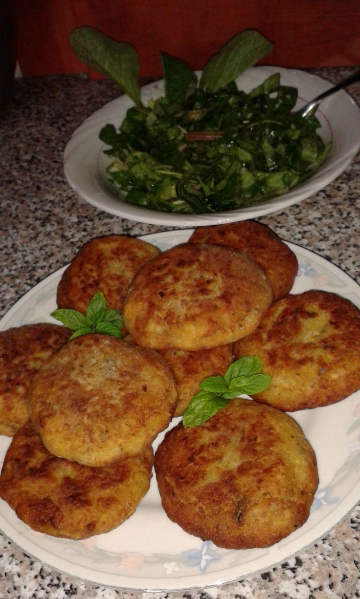 split peas rissoles and borage and chicory salad