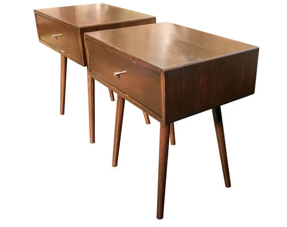 Mid Century Inspired End Table / Nightstand Set by OrWaDesigns
