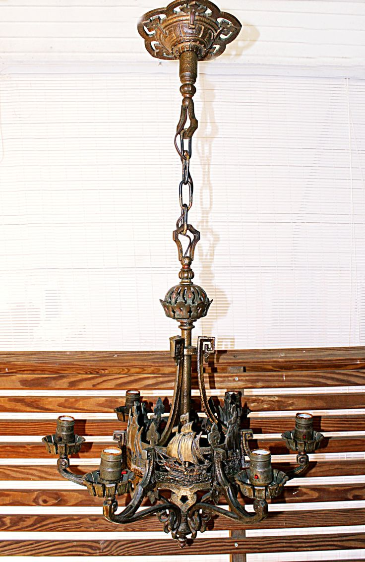 Antique Chandelier Bronze Over Brass, Clipper Ships, 6 Individual Lights,  Standard Bulbs, Estate Find, Old Mansion on Ohio River, Exquisite - 52 Best ANTIQUE THIS AND THAT Images On Pinterest Mid Century