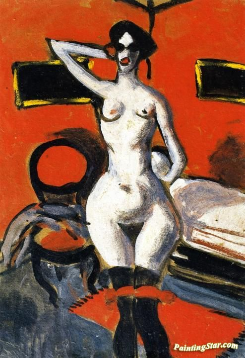 Nude on a Red Background Artwork by Auguste Chabaud