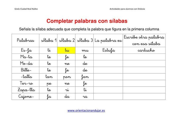ACTIVIDADES DISLEXIA Completar palabras con sílabas dejamos Plantilla