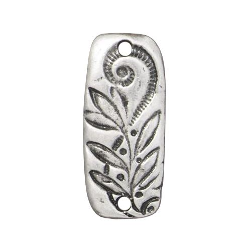 Pewter Jardin Bar Connector Link with an antiqued finish designed and manufactured by TierraCast. Each connector is 23mm wide x 9mm high and 2mm thick. This is a two sided reversible connector rectangular shaped with rounded edges. This connector has two 2mm holes - one at each end - and is decorated with floral designs on both sides.