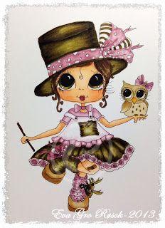 Eva`s Scraproom: DT Card My Bestie -Copics used: Skin: E11,21,00,000 - R11,12 Hair: E47,44,43 Owl: E55,43,42 Green: E89,87,84,81 Pink: RV95,93,91 Orange; Y38