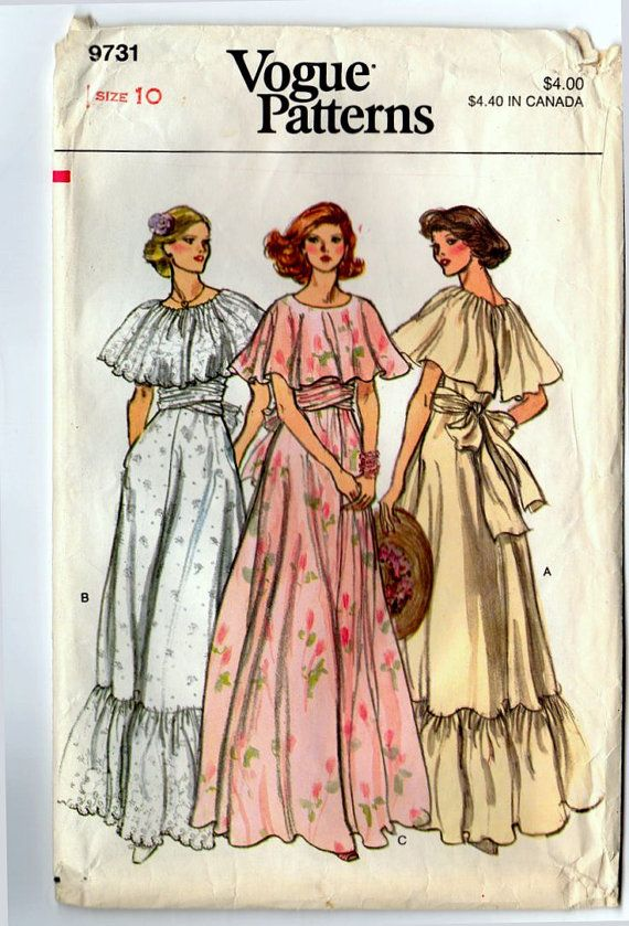Vintage Vogue 1970s Sewing Pattern, Bride or Bridesmaid,  Size 10 Evening Length Dress, Vogue 9731