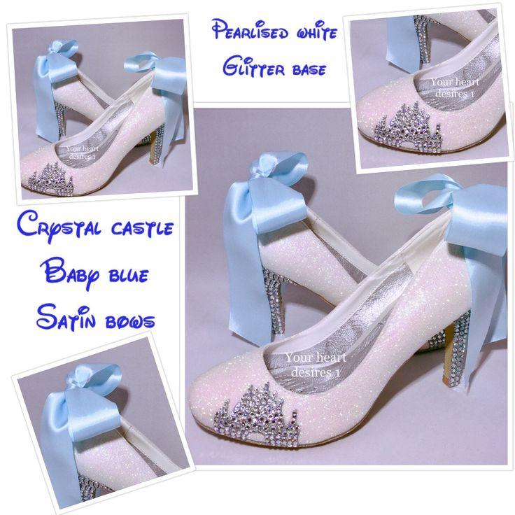 Disney Shoes Wedding Satin Ribbon Bow Crystal Custom