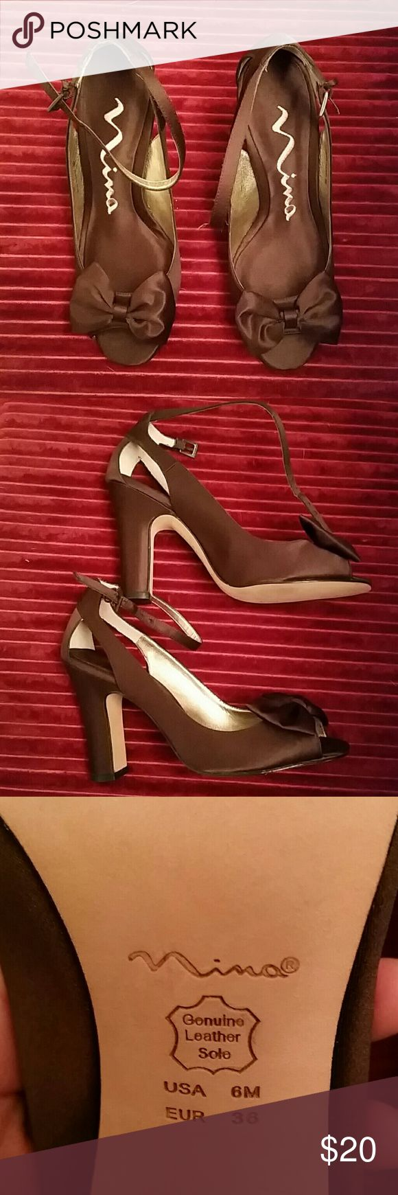 Brand new,  never worn dressy heels Brown satin heels by Nina Nina Shoes Heels