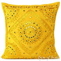 "EYES OF INDIA - 16"" YELLOW MIRROR EMBROIDERED DECORATIVE THROW PILLOW CUSHION COVER Boho Bohemia"