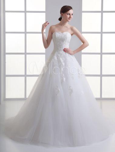Vestido de boda marfil sin tirantes con bordados y escote de corazón - Milanoo.com