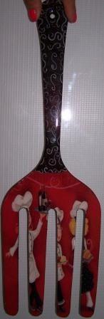 Tenedor con decoupage hecho en JuliartexPerú