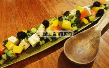 SPADELLATA DI TOFU ALLE VERDURE 250 g of natural Tofu, 1 yellow pepper, 1 red pepper, 1 aubergine, 1 zucchini, 1/2 small onion, oil, 1/2 stock cube of Brodo Vegetale 7% (vegetables stock 7%), 10 black olives. Thanks to our vegetables stock 7%, you will give the right taste to your vegetables. #maincourse #vegetables #vegetablestock #ilovesanmartino