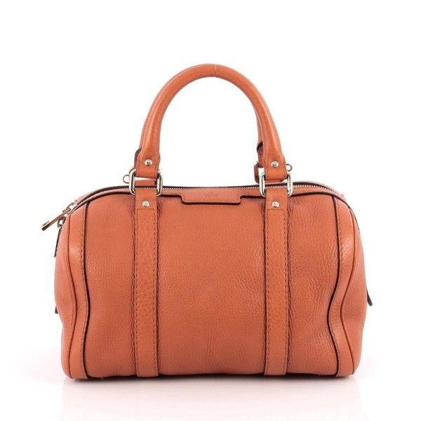 Pre-owned Orange Leather Handbag ($610) ❤ liked on Polyvore featuring bags, handbags, orange, orange handbags, leather purses, handbag purse, leather handbags and gucci purse