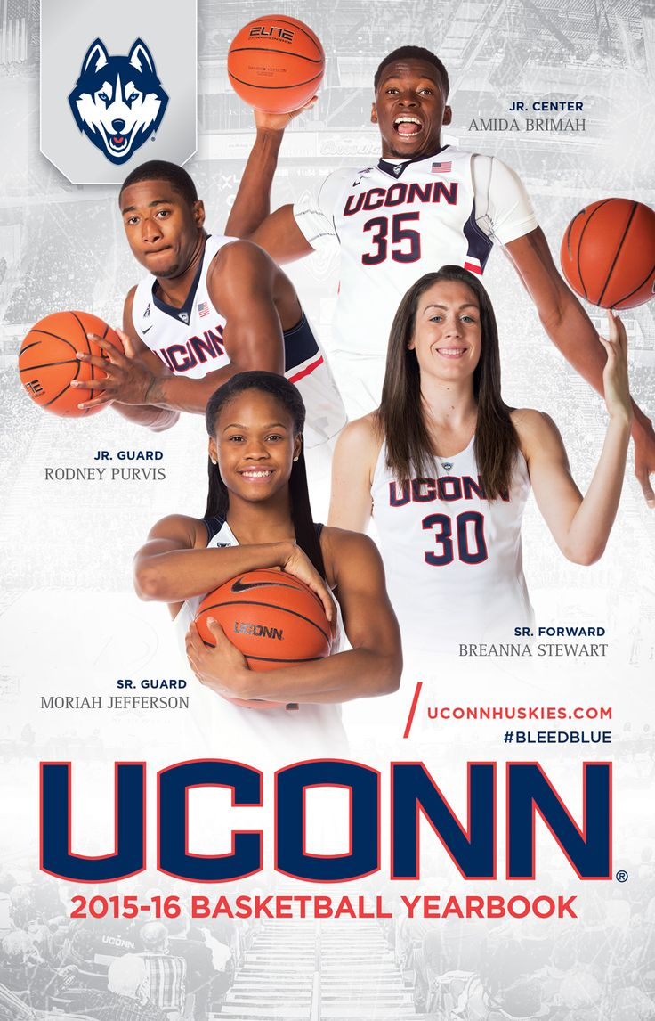 The official 2015-16 UConn Huskies men's and women's basketball yearbook features Rodney Purvis, Amida Brimah, Moriah Jefferson and Breanna Stewart on its cover.