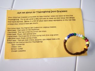 The Thanksgiving story bracelet - wonderful craft to do with the littles during our 30 days of Thanksgiving.
