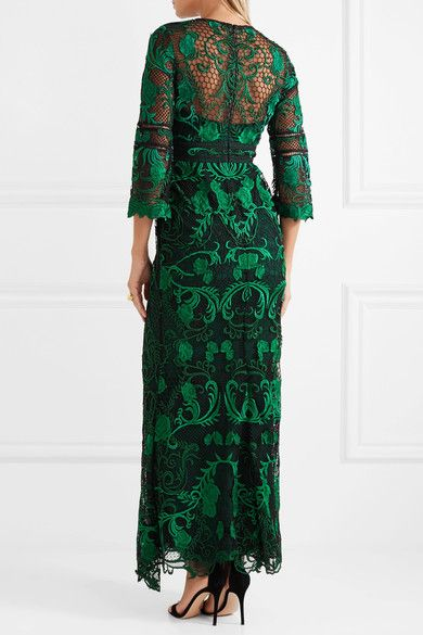 Black and emerald guipure lace, black mesh, forest-green crepe Concealed hook and zip fastening at back Fabric1: 100% polyester; fabric2: 100% nylon Dry clean
