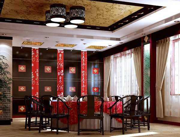 Chinese Interior Decor Accessories In Red Color For Dining Room
