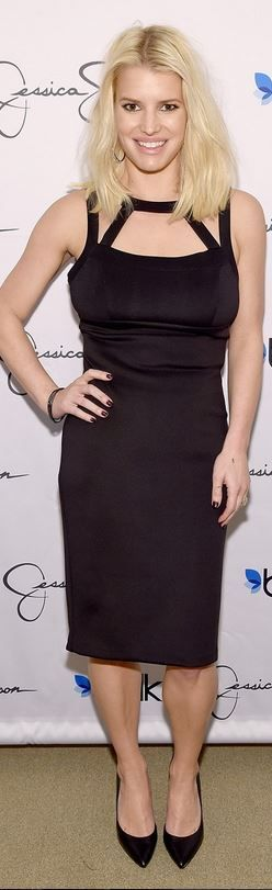 Who made  Jessica Simpson's black cut out dress and pumps?