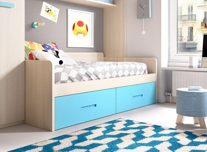 Children's Modern Single Bed with 2 Drawers by Rimobel. #interiordesign #contemporaryfurniture #furniture #house #interiors