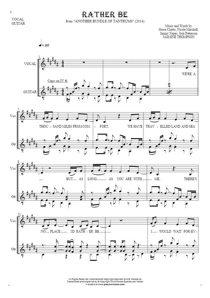 Rather Be sheet music by Jasmine Thompson. From album Another Bundle of Tantrums (2014). Part: Notes and lyrics for vocal and guitar.