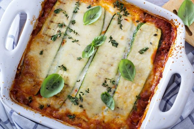 Lasagna with zucchini and mushrooms