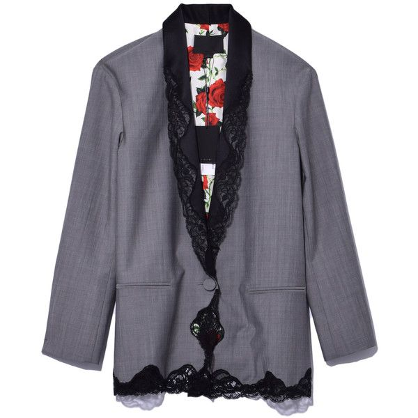 Alexander Wang Dove Grey Lace Blazer (€960) ❤ liked on Polyvore featuring outerwear, jackets, blazers, dove grey, lace blazer jacket, lace blazer, rose blazer, lace jacket and alexander wang