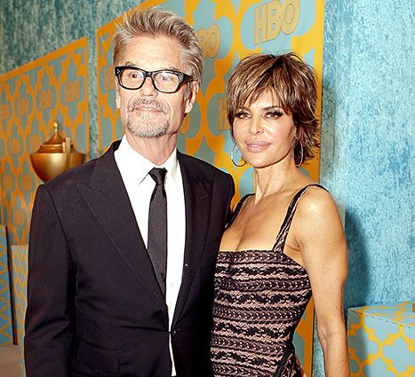 Lisa Rinna, in a gown she wore ten years ago, attended a 2015 Golden Globes after party with husband Harry Hamlin.