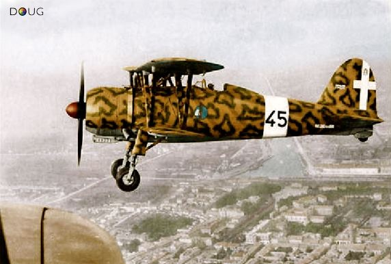 """The Fiat CR.42 Falco (""""Falcon"""") was a single-seat sesquiplane fighter which served primarily in Italy's Regia Aeronautica before and during World War II. The aircraft was produced by the Turin firm, and entered service, in smaller numbers, with the air forces of Belgium, Sweden and Hungary. With more than 1,800 built, it was the most widely produced Italian aircraft to take part in World War II. Ravenna, Italy 1942"""