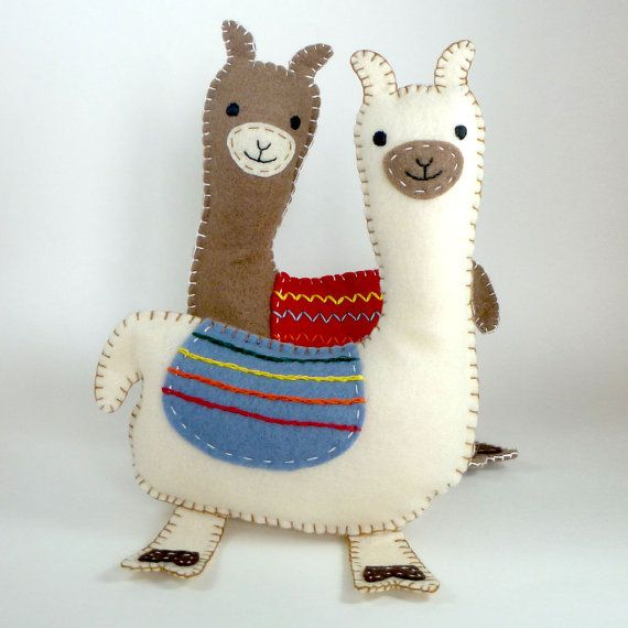 Stuffed Llama PATTERN Sew by Hand Plush Felt by LittleHibouShoppe