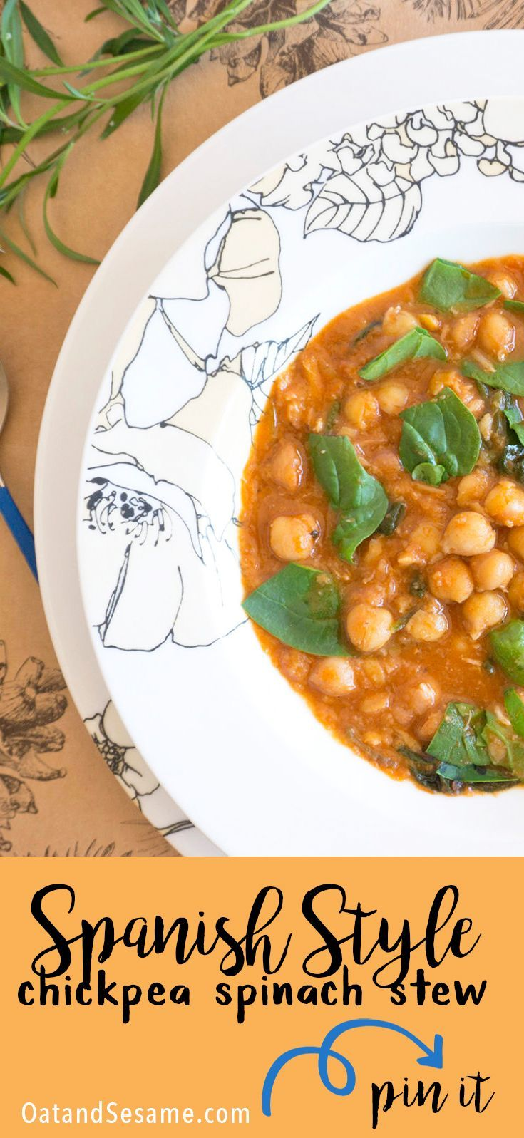 Spanish Style Chickpea Spinach Stew - hearty and full of warm smoky paprika! | #SOUP | #Recipes at OatandSesame.com