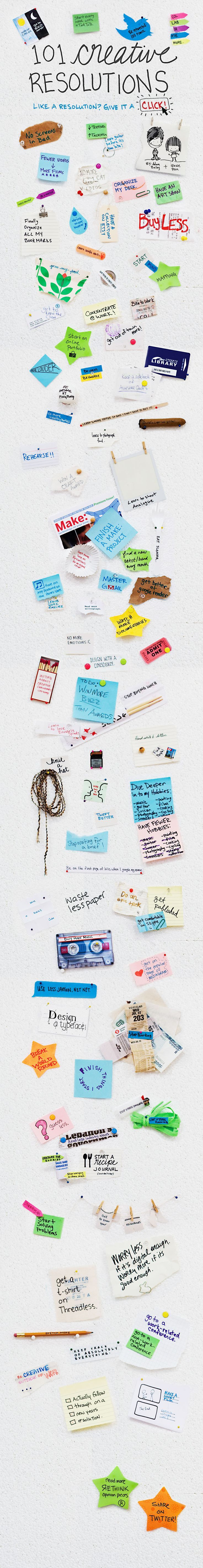 101 creative Resolutions.  If you go to original site and click on each item, it takes you to another site that can help you achieve your resolution