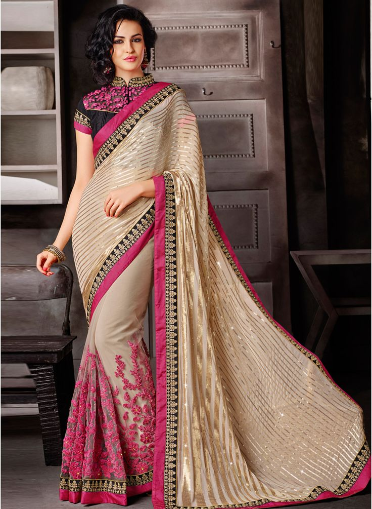 Drape this beige coloured saree from Mahotsav and look pretty like never before! #Beige #Saree #Embellished #Party #Wedding