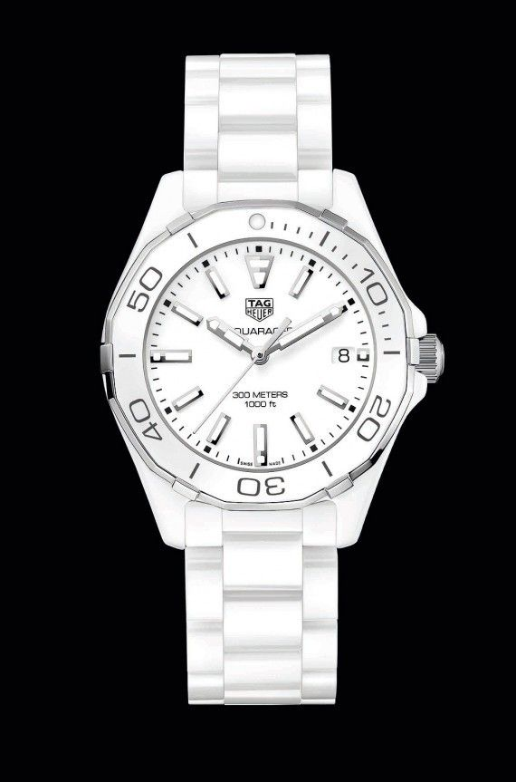 The @tagheuer Aquaracer Lady watch boasts 300-meter water-resistance, a rotating divers' bezel, screwed crown and screwed caseback with a divers' helmet engraving, luminous markers, and nonreflective sapphire crystals. Shown above is the all-white version on a white ceramic bracelet.  More @ http://www.watchtime.com/wristwatch-industry-news/watches/5-new-tag-heuer-aquaracers-bigger-cases-all-ceramics-for-ladies/ #watchtime #chronograph #divewatch #ladieswatches