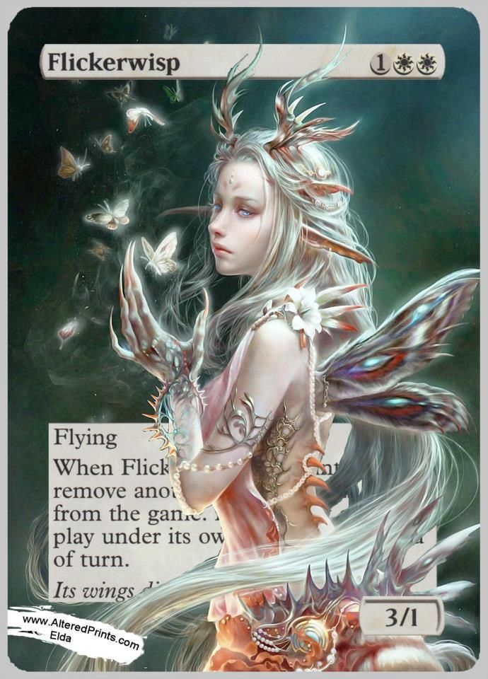Flickerwisp altered mtg card  www.indrigames.com/altered-mtg-cards