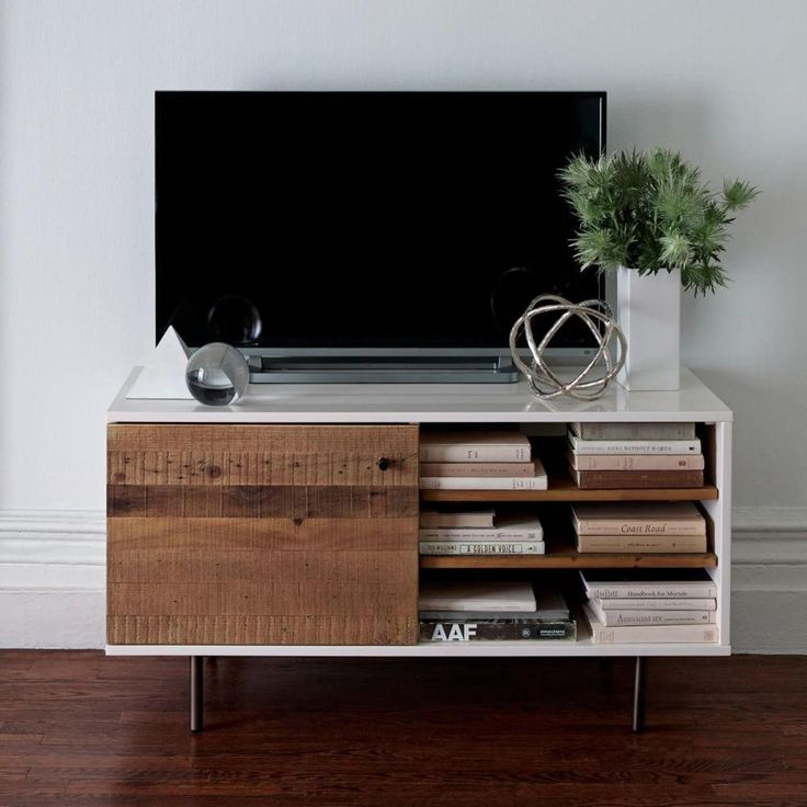 Reclaimed Wood Lacquer Media Console Furniture For Living RoomMedia