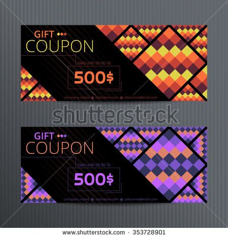 Vector illustration of gift voucher template collection. Voucher tickets. Voucher sale coupon. Gift voucher vector. Set of vector coupon templates. Bright gift coupons.