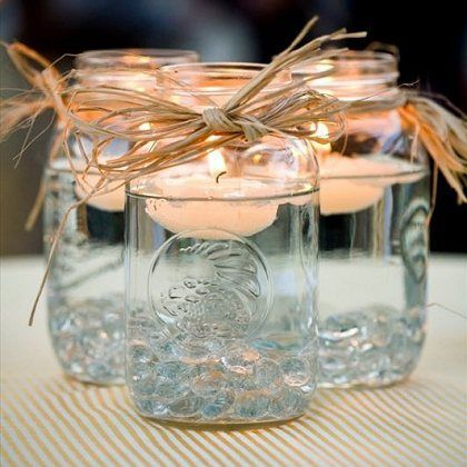 Weddings Philippines - Beach Themed Wedding Projects & DIY Inspiration - Mason Jar Floating Candles