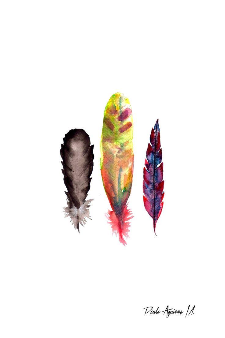 """""""Feathers"""" ilustración hecha con acuarela"""