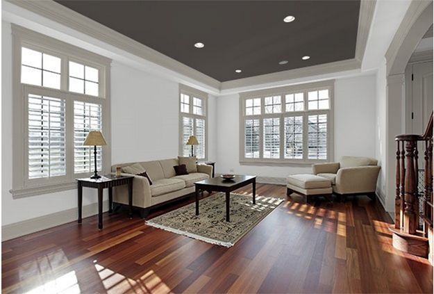 Combine a dark ceiling with grey trim white walls for for White walls black ceiling