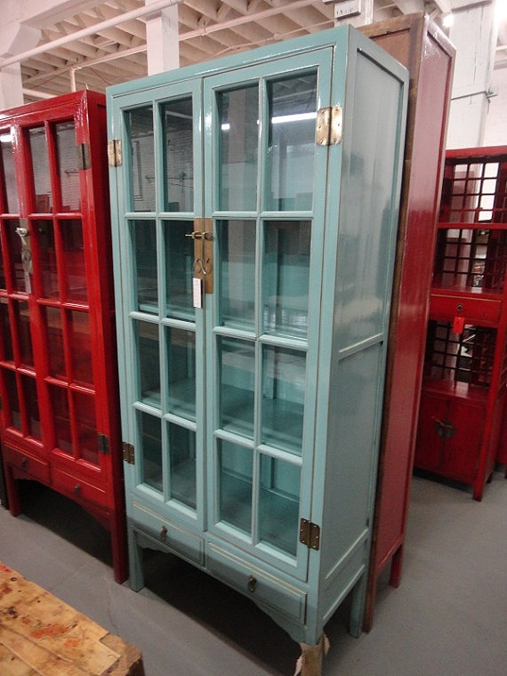 Asian Inspired China Cabinet Robinu0027s Egg Blue Los Angeles By Housecandyla,  $1600.00