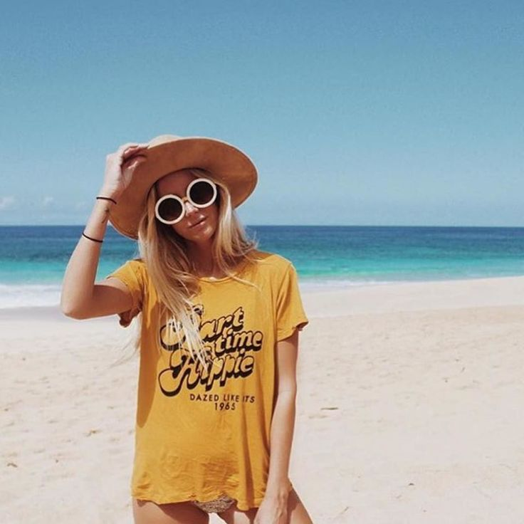 Our Part Time Hippie tee collab with @oopsydaze  on beauty @the_salty_blonde. Preorders on BikiniBird.com