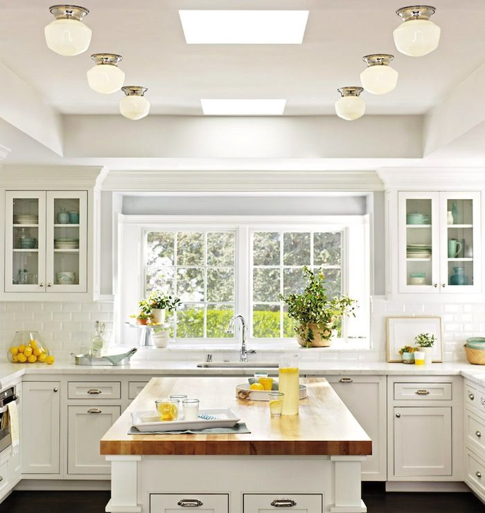 Classic white kitchen butcher block island build dream for White classic kitchen cabinets