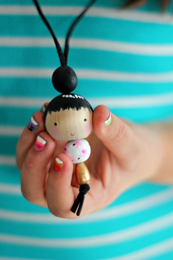"""DIY Wood Bead Doll Necklace via Craftberry Bush Blog! Plus more DIY kids crafts projects to keep the kids occupied so you can enjoy some """"me"""" time!"""