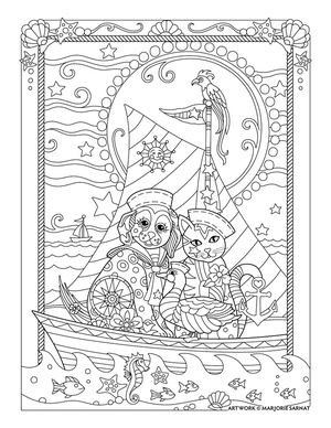 Dog and cat sailing ~ Pampered Pets Adult Coloring Book by Marjorie Sarnat