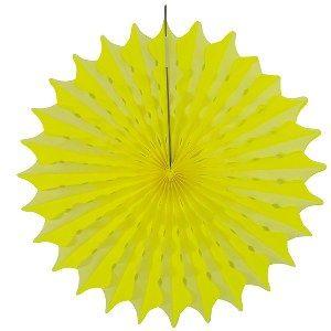 Een prachtige neon gele honeycomb waaier met een doorsnede van 45cm. Deze versiering zal uw zaal <br>of huiskamer een extra stijlvolle uitstraling geven tijdens uw themafeest. foto 1