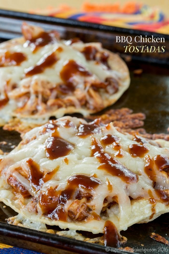 BBQ Chicken Tostadas are a quick and easy family dinner recipe everyone will love from The Weeknight Dinner Cookbook. Use your favorite sauce and cheese.
