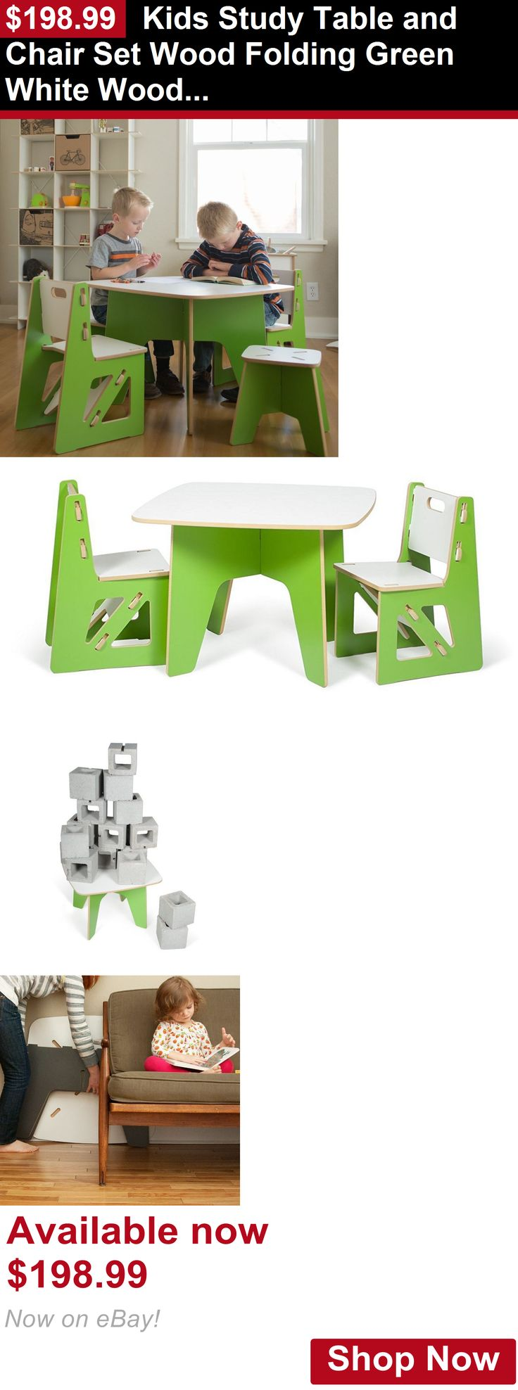 Nursery Furniture Sets: Kids Study Table And Chair Set Wood Folding Green White Wooden Indoor BUY IT NOW ONLY: $198.99