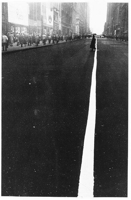 Robert Frank - Pedestrian Crossing Center White Line on 34th Street, NY, 1948. FromThe Metropolitan Museum of Art.