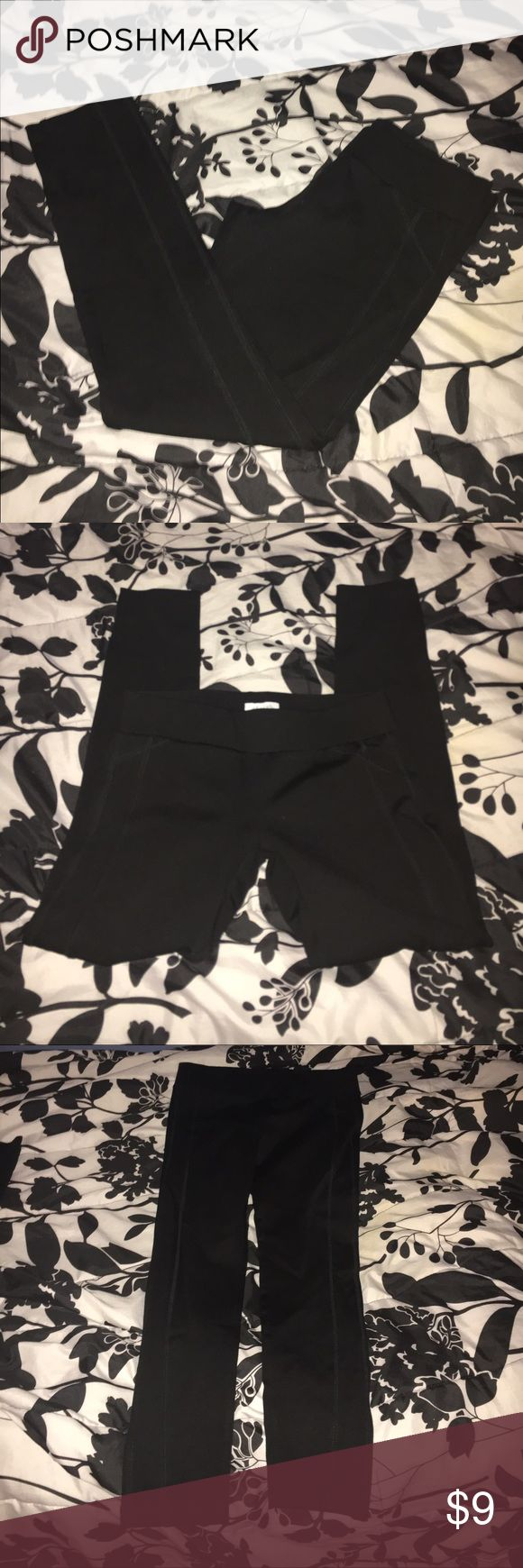 """Delia's Black leggings/pants NWOT Ordered it for someone but was way smaller than I expected it to be. Black leggings made of pretty thick material. Its not stretchy. The inside tag doesn't say size M. The shipping label sent to my email says size M, 30"""" length. It runs pretty small, even for a juniors medium. Made of 62% rayon, 33% nylon, 5% spandex. No holes or stains. Please ask if you'd like more information or pictures! Thanks! Delia's Pants Leggings"""