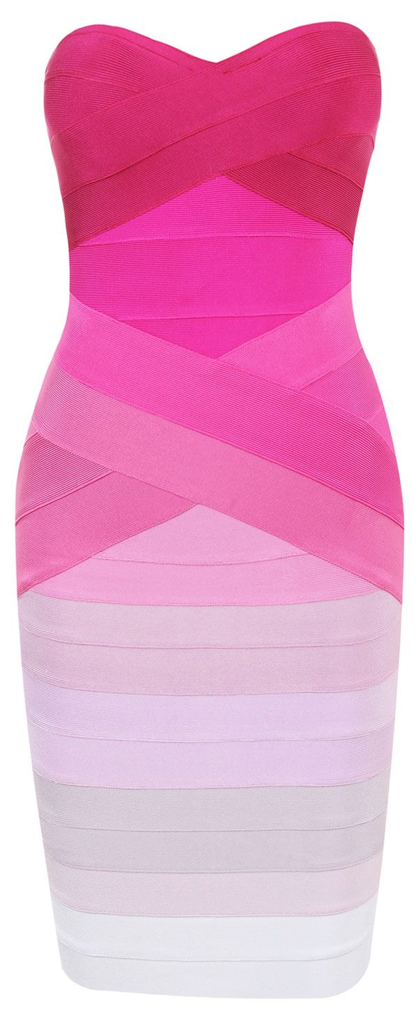 Clothing : Bandage Dresses : 'Stacie' Pink Gradient Strapless Bandage Dress