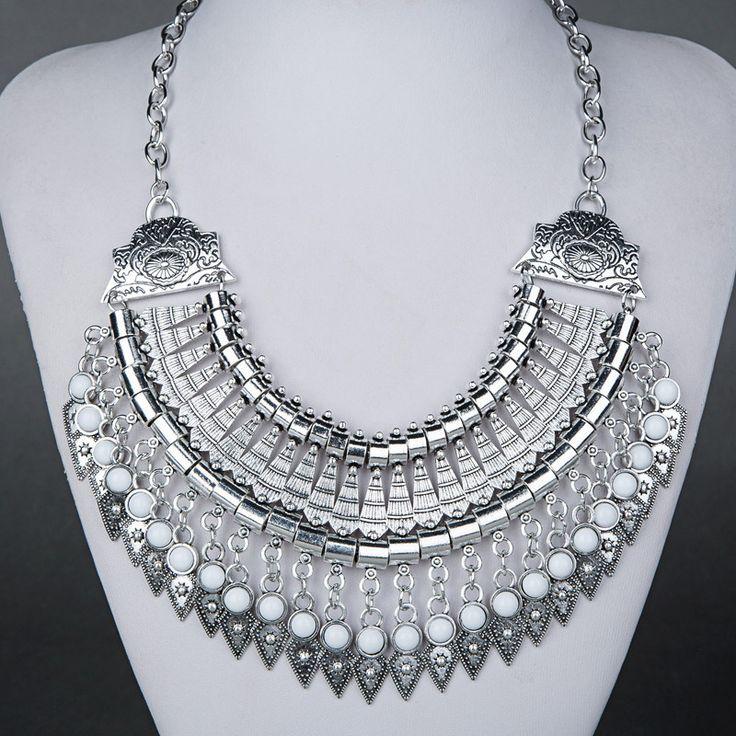$15 Vintage Bohemian Statement White Gem Necklace